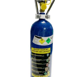 lachgas tank met instructie sticker veilig lachgas gebruik